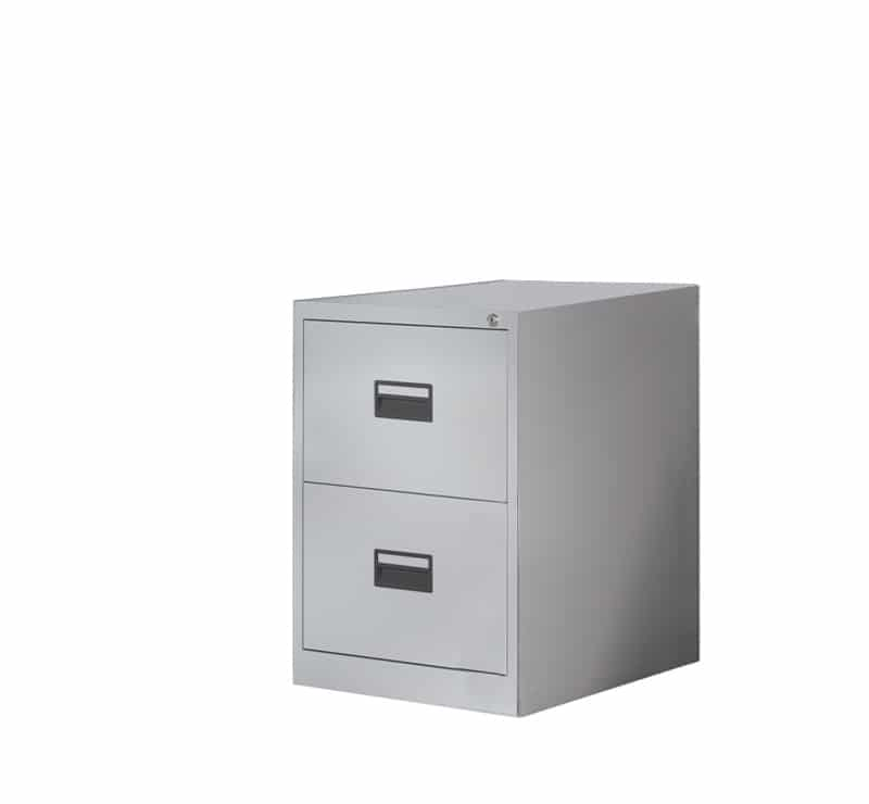 Ready Built 2 Draw Steel Office Filing Cabinet 3 Colour