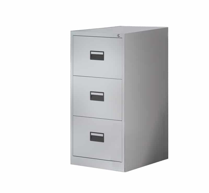 Ready Built 3 Draw Steel Office Filing Cabinet Colour Options Grey Black Coffee Cream