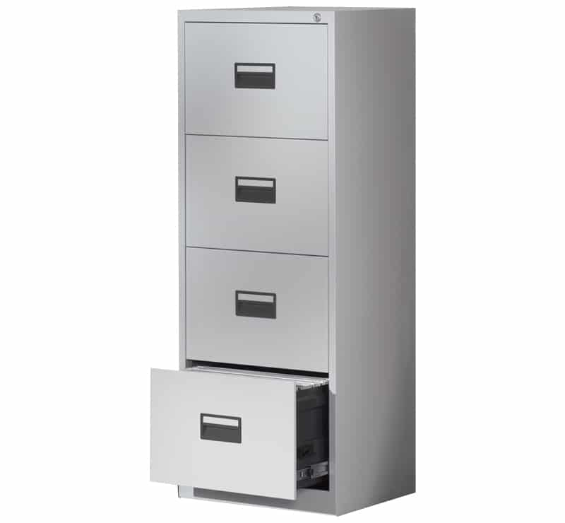 Ready Built 4 Draw Steel Office Filing Cabinet 3 Colour Options Grey,  Black, Coffee U0026 Cream