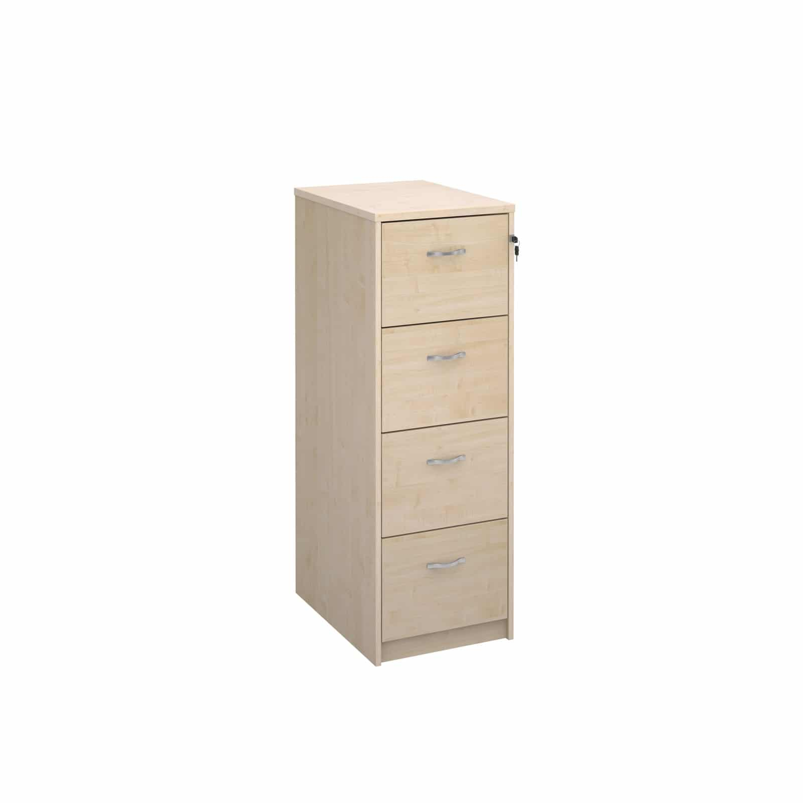 Bimi ready built 4 draw lockable wood filing cabinet in for Ready built cupboards