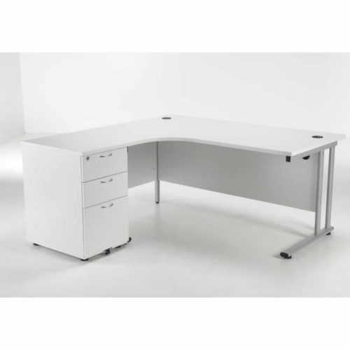 White Corner desk with pedestal