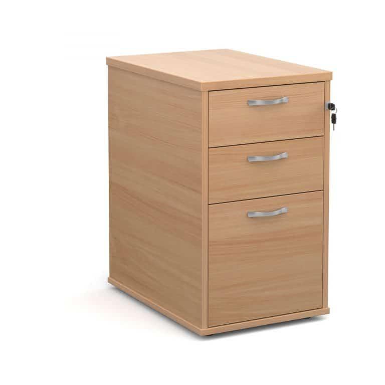 Ready Built 3 Drawer Wood Desk High Pedestal In Beech 800MM Deep-0