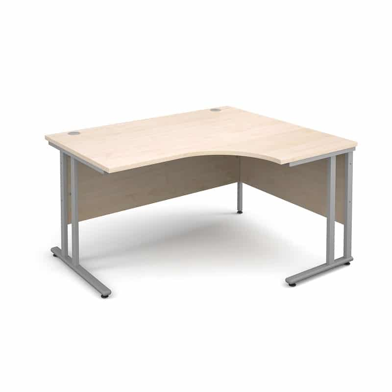 Compact Maple 1400mm Right Hand Ergonomic Corner Desk Complete With 3 Draw High Pedestal
