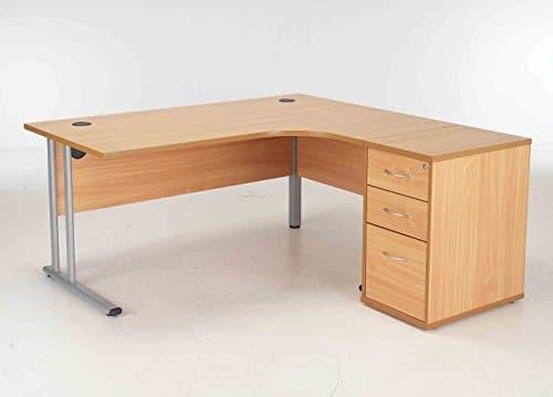 Maple 1600mm Right Hand Ergonomic Corner Desk Complete