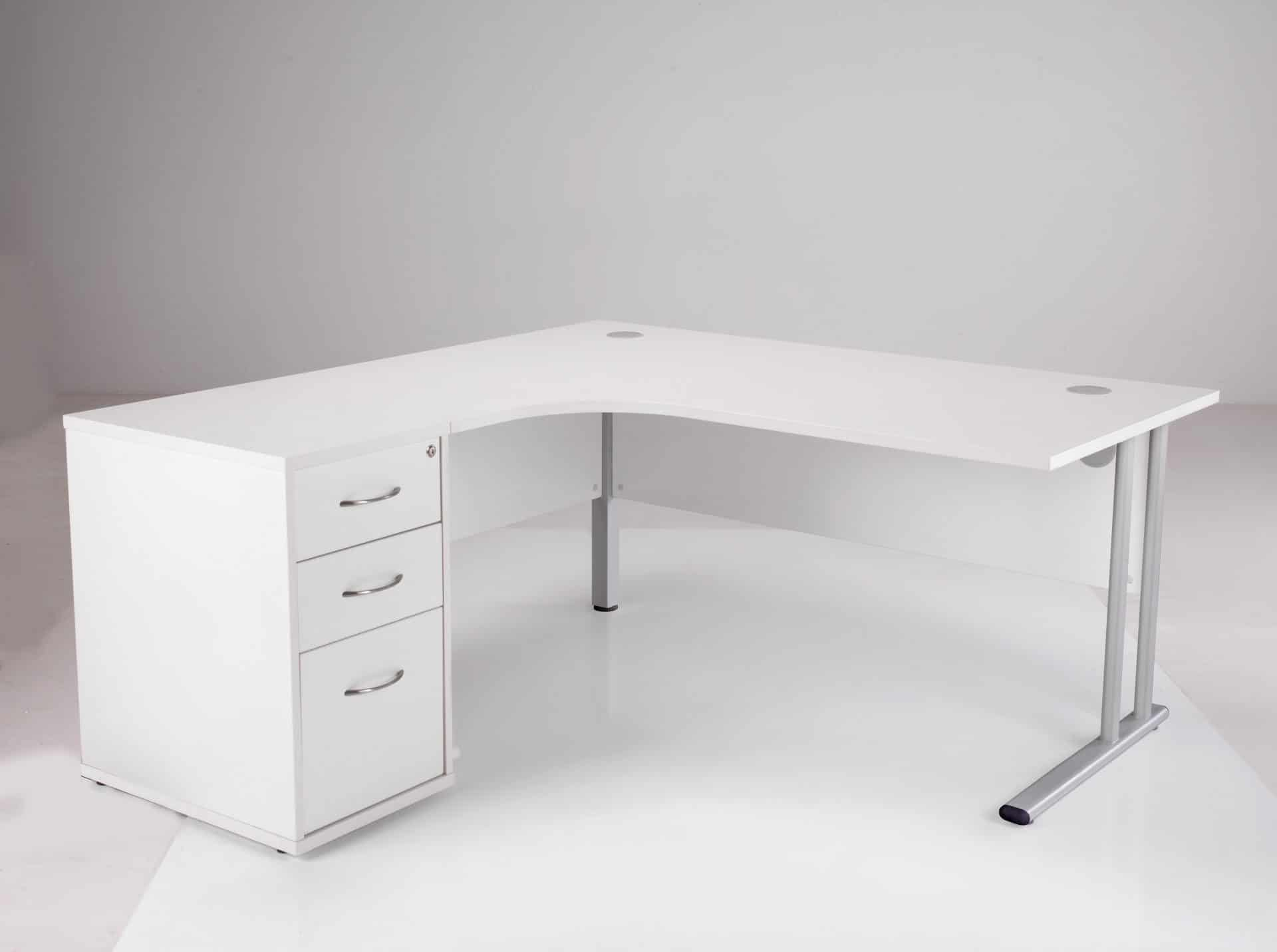 White 1800mm Left Hand Ergonomic Corner Desk Complete With 3 Draw High Pedestal