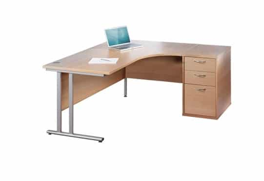 Maple 1800mm Right Hand Ergonomic Corner Desk Complete