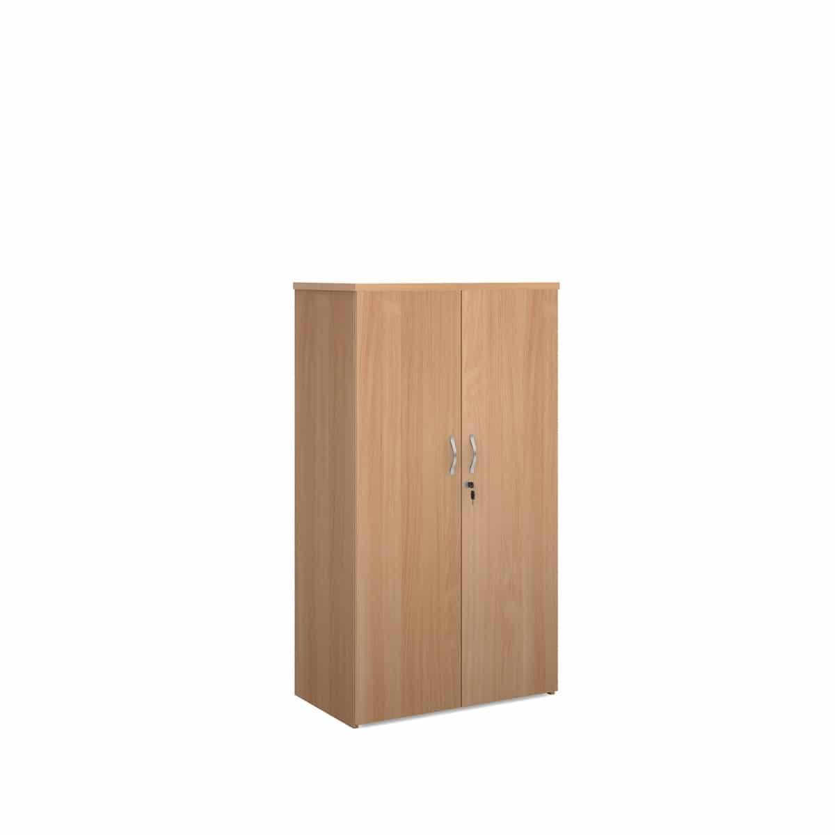 Beech wood office tall storage cupboard 1440mm 3 shelf bimi for Ready built cupboards