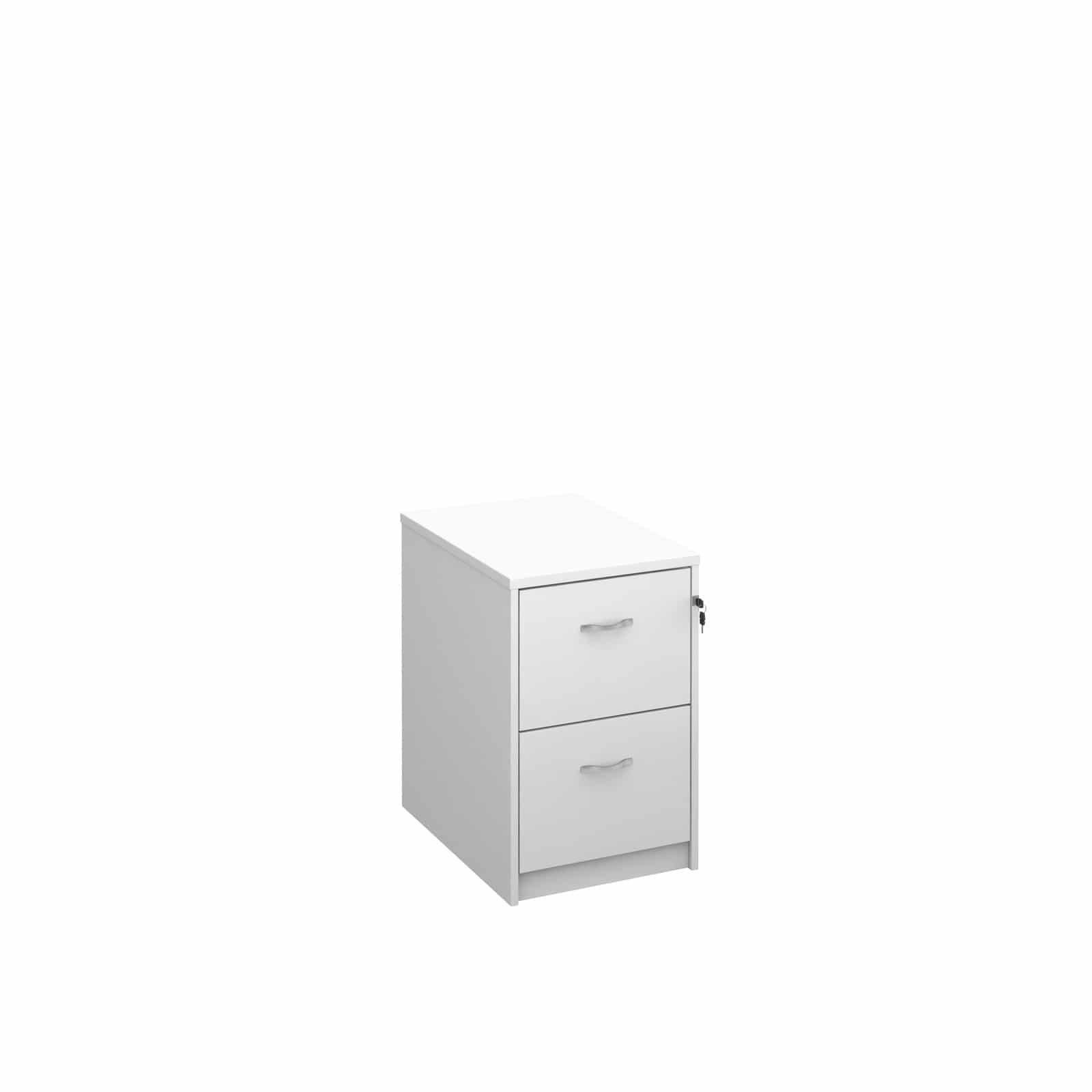 Bimi Ready Built 2 Draw Lockable Wood Filing Cabinet White