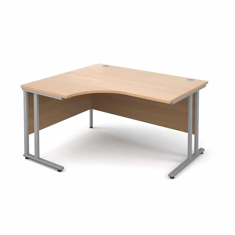 Beech 1600mm Left Hand Ergonomic Corner Desk
