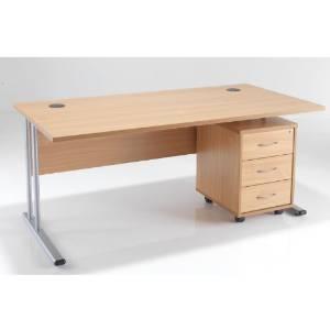 BiMi 1600 x 800 Rectangular Desk Complete With 3 Draw Pedestal Walnut