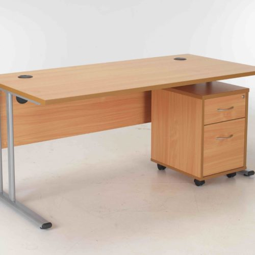 BIMI Oak Rectangular Desk with 2 Draw Mobile Pedestal - Desk 1600 x 800