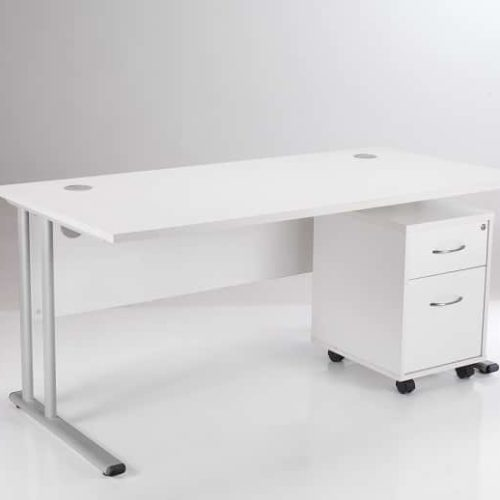 BIMI White Rectangular Desk with 2 Draw Mobile Pedestal - Desk 1400 x 800