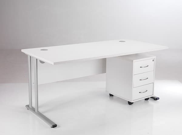 BIMI White Rectangular Desk with 3 Draw Mobile Pedestal - Desk 1400 x 800
