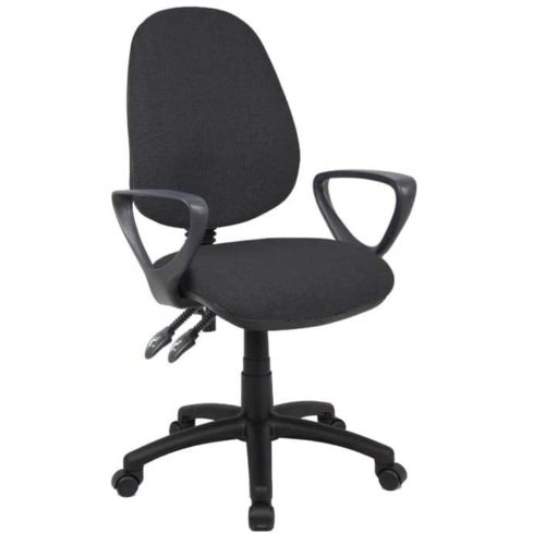 Fabric Operator seating - 2 Lever Operator Chair - Fixed Arms - Black