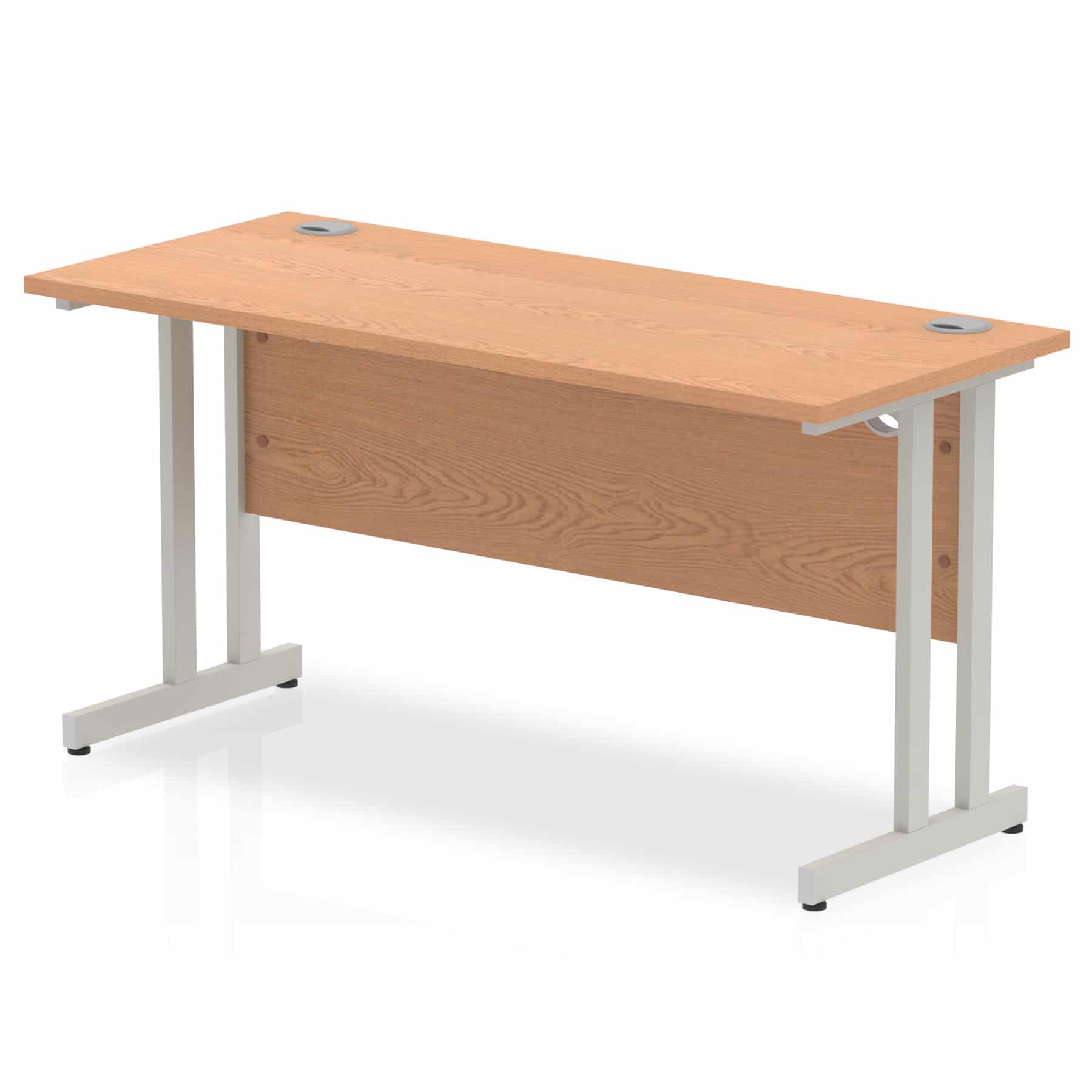 Slimline 1400mm x 600mm Rectangular Straight Desk in Oak