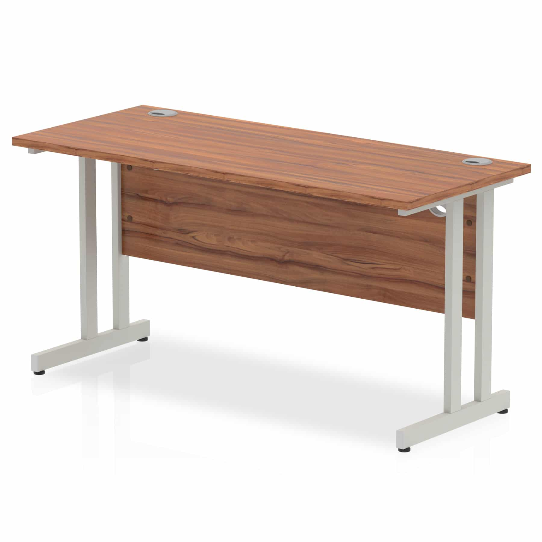 Slimline 1400mm x 600mm Rectangular Straight Desk in Walnut