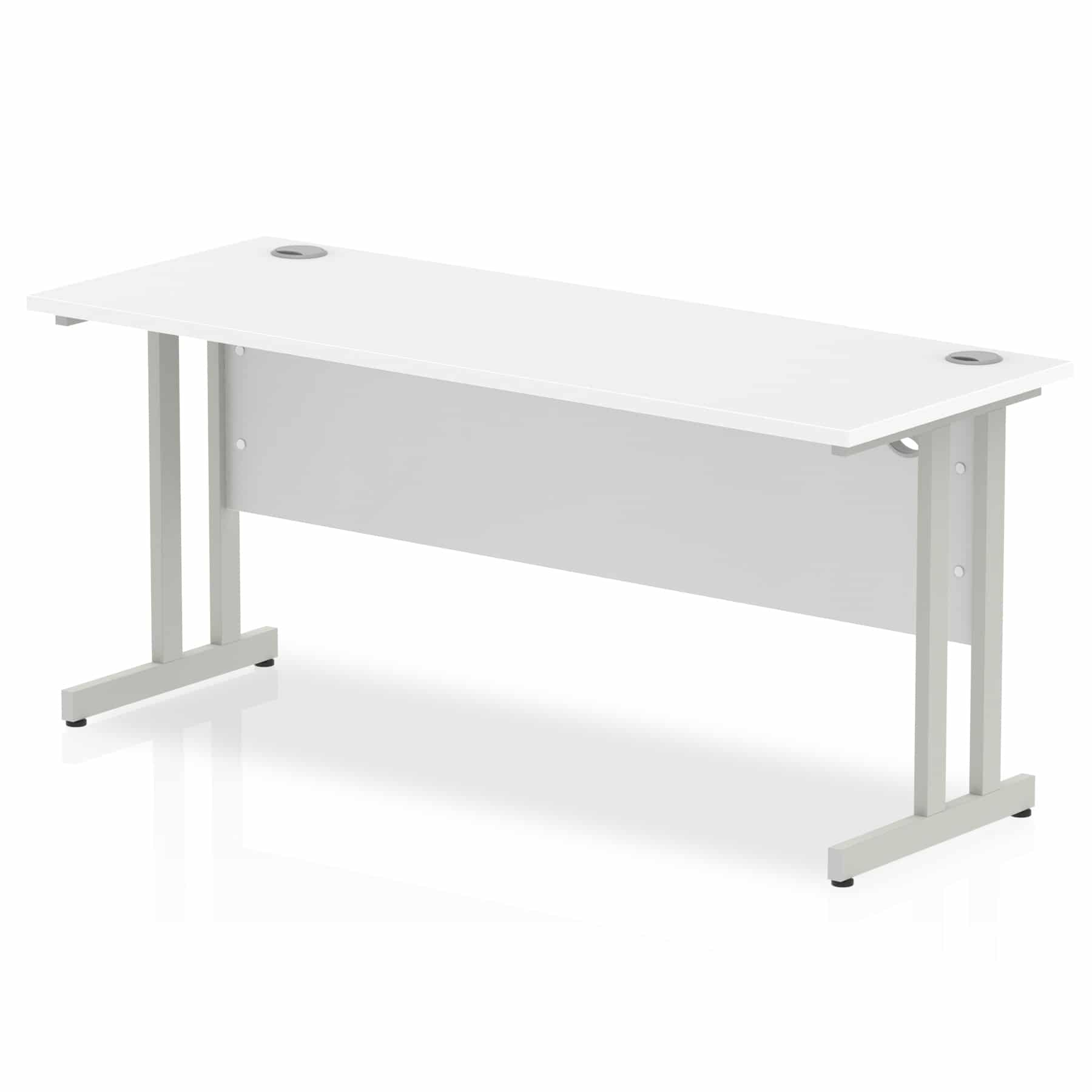 Slimline 1600mm x 600mm Rectangular Straight Desk in White
