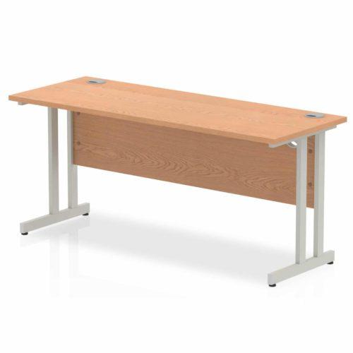 Slimline 1600mm x 600mm Rectangular Straight Desk in Oak