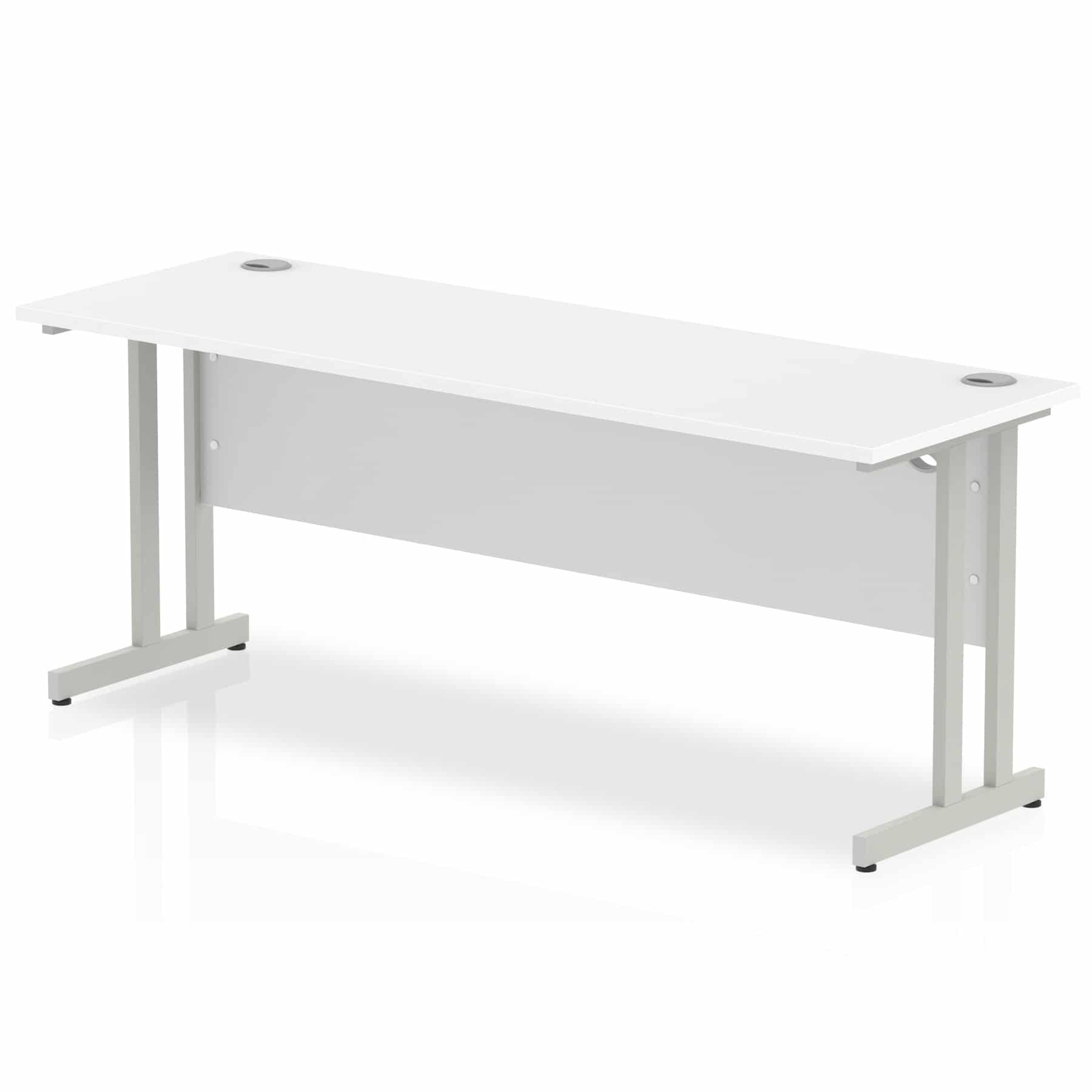 Slimline 1800mm x 600mm Rectangular Straight Desk in White