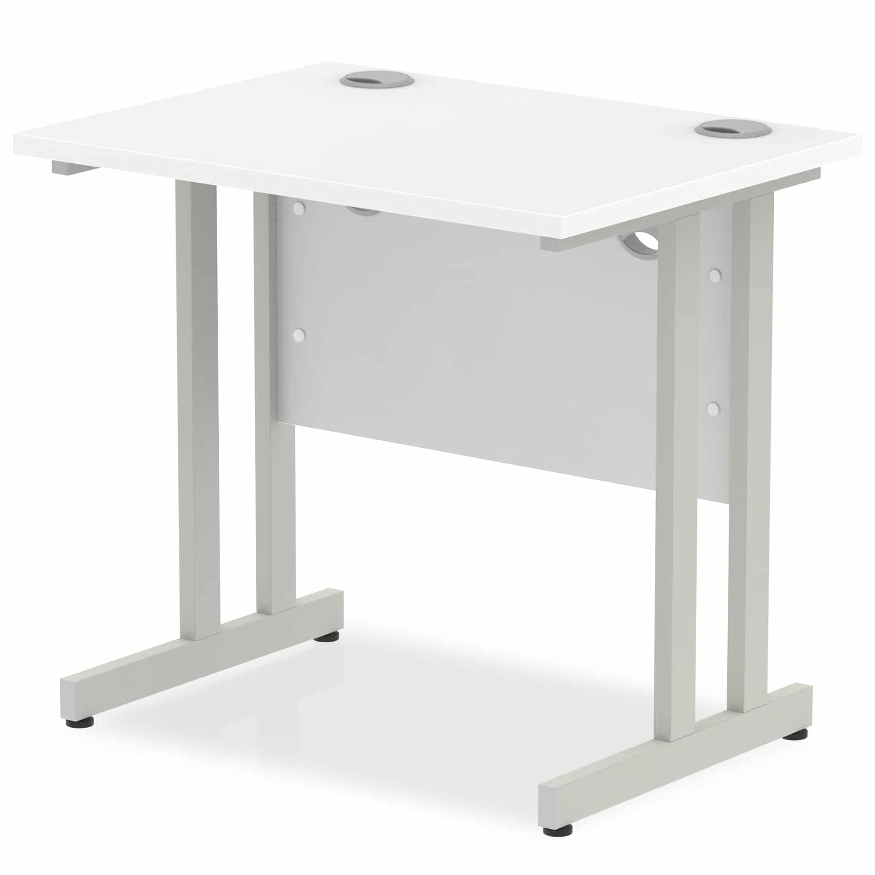 Slimline 800mm x 600mm Rectangular Straight Desk in White