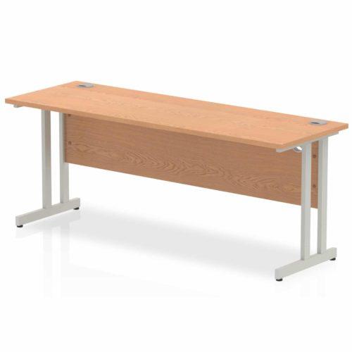 Slimline 1800mm x 600mm Rectangular Straight Desk in Oak