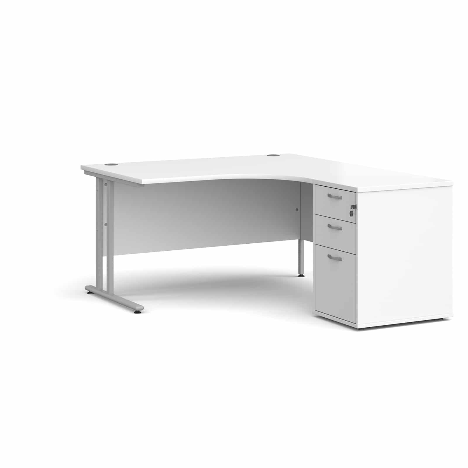 Image of: White Corner Desk With 3 Draw Pedestal 1400mm Workstation Bundle