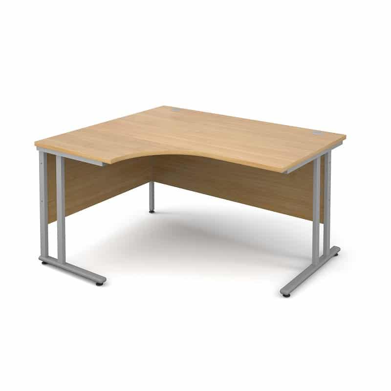 Oak 1400mm Left Hand Ergonomic Corner Desk 0