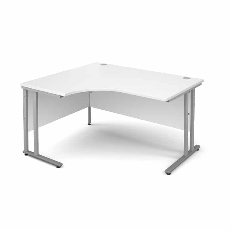 White 1400mm Left Hand Ergonomic Corner Desk 0