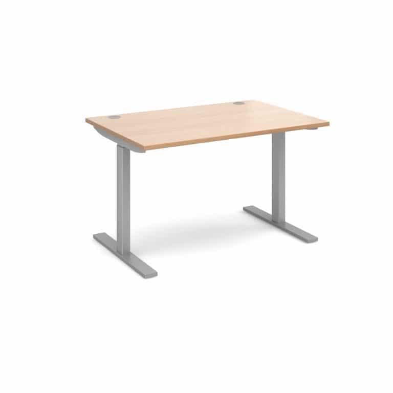 Elev8 1200 x 800 Sit Stand Desk - Silver frame - Beech-0