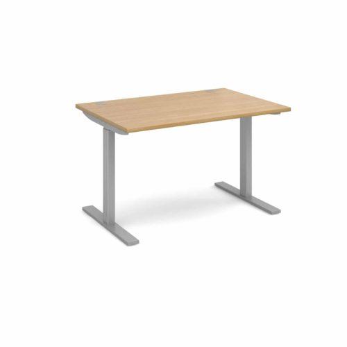 Elev8 1200 x 800 Sit Stand Desk - Silver frame - Oak-0