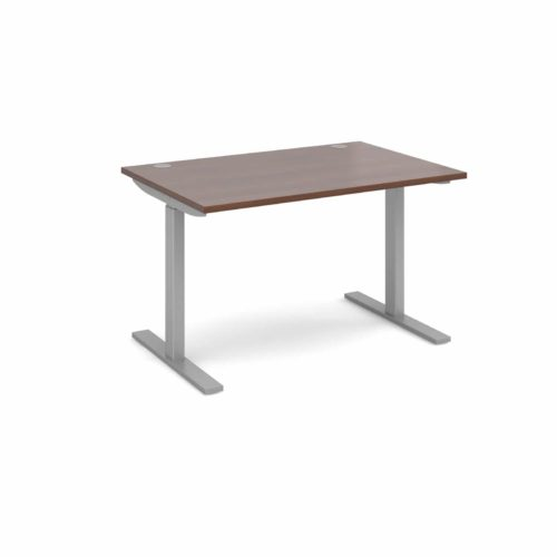 Elev8 1200 x 800 Sit Stand Desk - Silver frame - Walnut-0