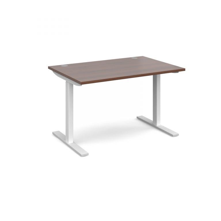 Elev8 1200 x 800 Sit Stand Desk - White frame - Walnut-0