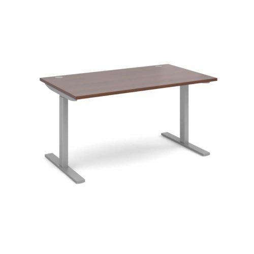 Elev8 1400 x 800 Sit Stand Desk - Silver frame - Walnut-0