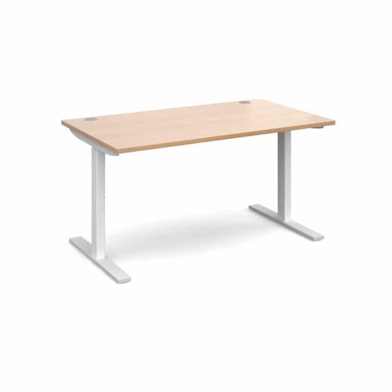 Elev8 1400 x 800 Sit Stand Desk - White frame - Beech-0