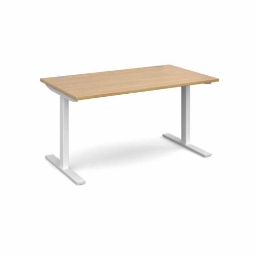 Elev8 1400 x 800 Sit Stand Desk - White frame - Oak-0
