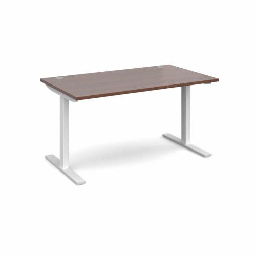 Elev8 1400 x 800 Sit Stand Desk - White frame - Walnut-0