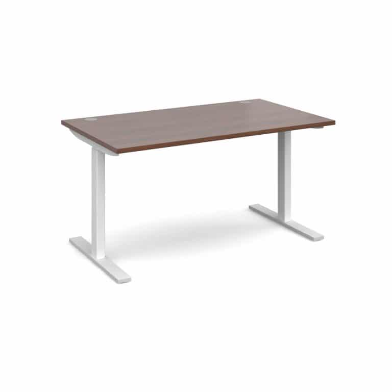 Elev8 1400 x 800 Sit Stand Desk - White frame - Walnut-0