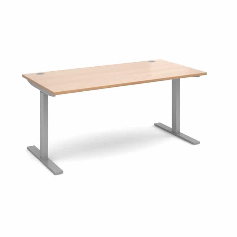 Elev8 1600 x 800 Sit Stand Desk - Silver frame - Beech-0
