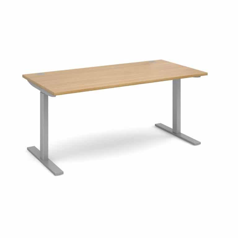 Elev8 1600 x 800 Sit Stand Desk - Silver frame - Oak-0