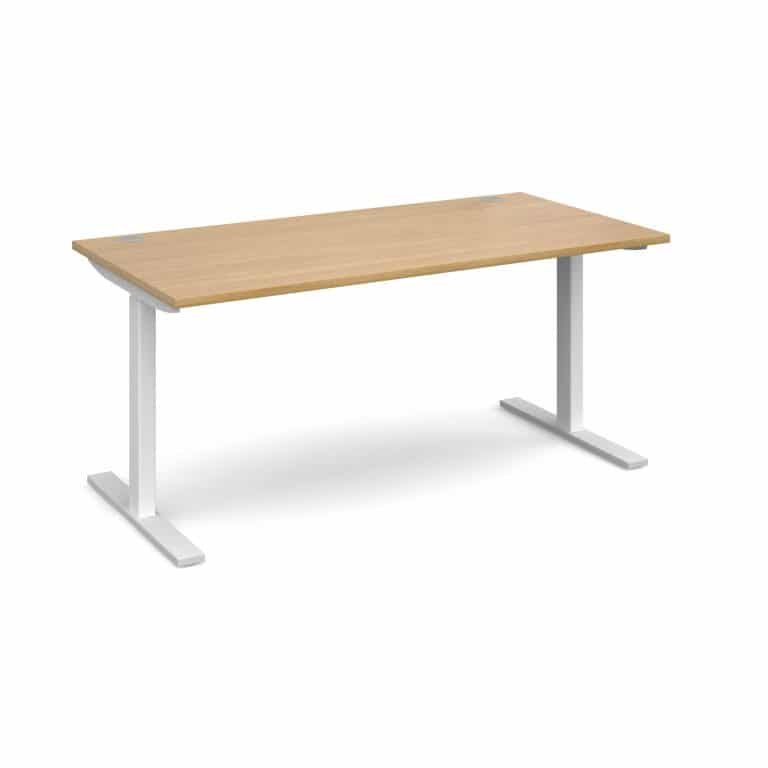 Elev8 1600 x 800 Sit Stand Desk - White frame - Oak-0