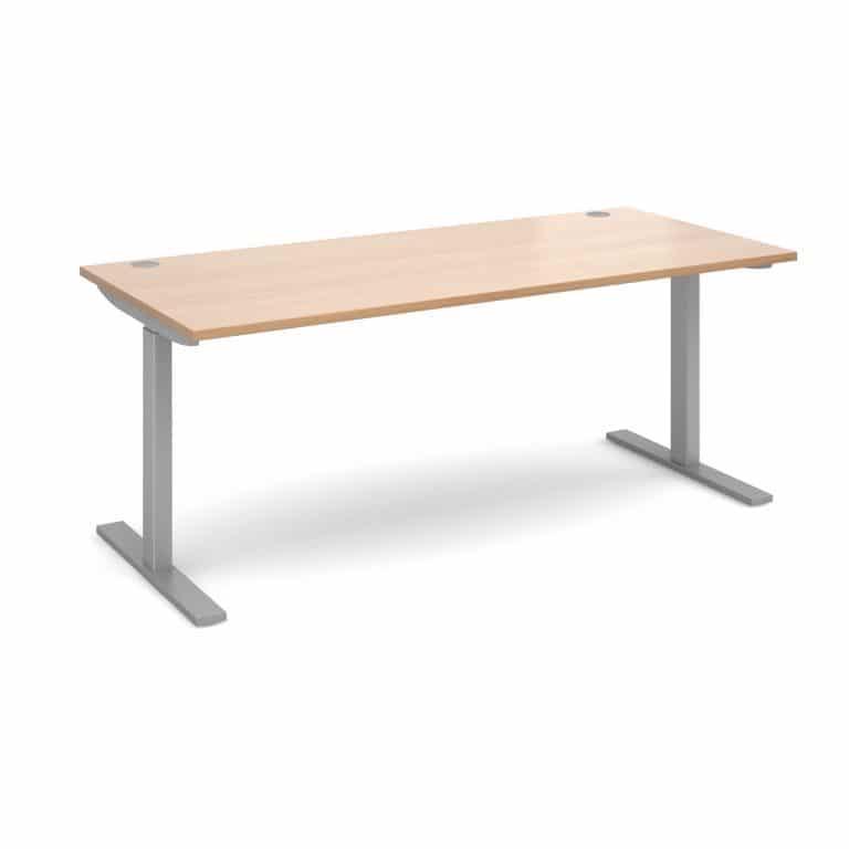Elev8 1800 x 800 Sit Stand Desk - Silver frame - Beech-0