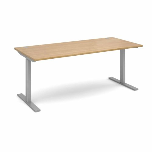 Elev8 1800 x 800 Sit Stand Desk - Silver frame - Oak-0