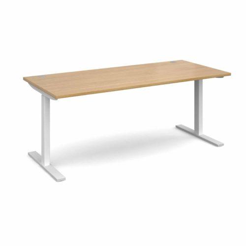 Elev8 1800 x 800 Sit Stand Desk - White frame - Oak-0