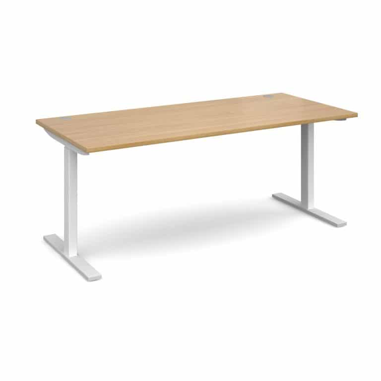 Elev8 1800 x 800 Sit Stand Desk - White frame - Oak-0