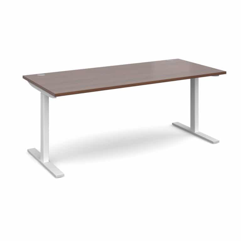 Elev8 1800 x 800 Sit Stand Desk - White frame - Walnut-0