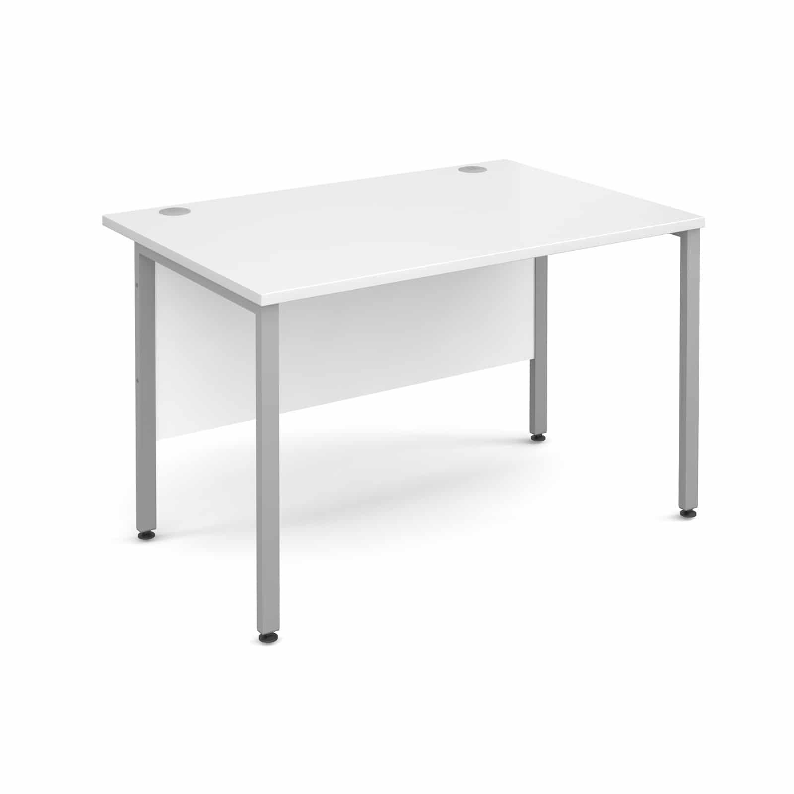 H Frame 1400mm Deep Straight White Ergonomic Office Desk 0