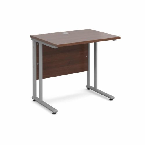 BiMi Slimline 800mm x 600mm Rectangular Straight Desk in WALNUT-0