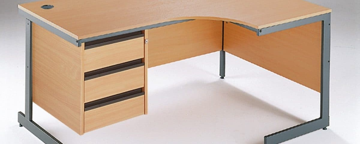 Maestro Cantilever Left Hand Ergonomic Desk 3 Drawer