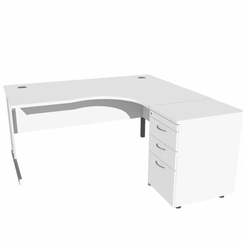 Corner Desk with 3 drawer pedestal white
