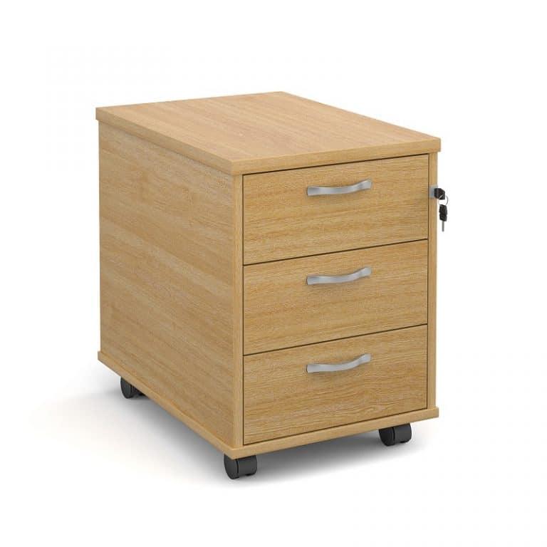 Ready Built 3 Drawer Wood Desk Under Desk Mobile Pedestal In Oak-0